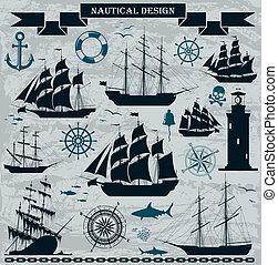 Segelschiffe mit nautischen Designelementen.