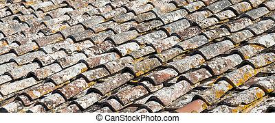 Sehr alte Fliesen auf dem Dach