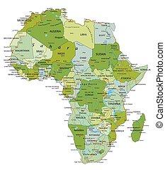 Sehr detaillierte, editierbare politische Karte mit getrennten Ebenen. Afrika.