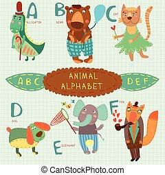 Sehr süßes Alphabet. A, B, c, d, e, f Buchstaben. Alligator, Bär, Katze, Hund, Elefanten, Fuchs.Alphabet Design in einem bunten Stil.