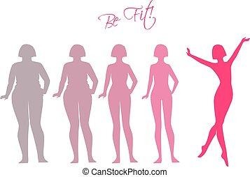 Sei fit, Frauen-Silhouette-Bilder.