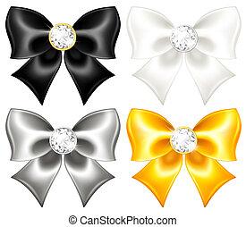 Seide verbeugt Schwarz und Gold mit Diamanten