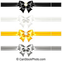 Seide verbeugt Schwarz und Gold mit Diamanten und Bändern