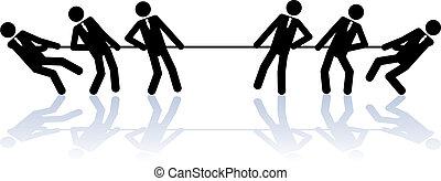 Seil ziehen Geschäftsleute