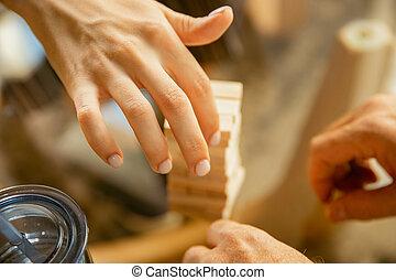 seine, daheim, erbauer, schließen, älter, hände, hölzern, begriff, auf, studieren, -, mannes