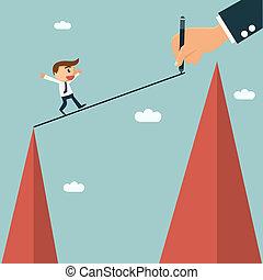seine, weg, concept., partnerschaft, writting, kreuz, andere, mentor, leicht, geschäftsmann, partner, hügel