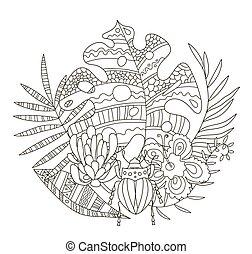 seiten, klein, schöne , färbung, blumen, muster, monstera, tropische , details, zeichnen buch, antistress, käfer, hand, creativity., adults., handfläche, protea, kinder