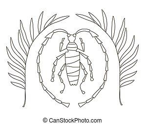 seiten, kunstwerk, dschungel, zeichnen buch, antistress, käfer, tropische , adults., hand, schöne , färbung, zweige, kinder, creativity.