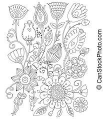 Seitenfarbe für Erwachsene, Blumendesign, Anti-Stress-Coloring.