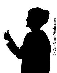 Seitenprofil-Porträtsilhouette von glücklicher, alter Dame, die Daumen nach oben zeigt.