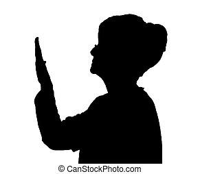 Seitenprofil Portrait Silhouette von älteren Damen überprüfen den Zustand der Nägel.