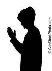 Seitenprofil Portrait Silhouette von älteren Damen, die beten.