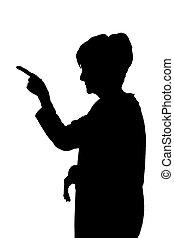Seitenprofil Portrait Silhouette von wütender, anklagender Lady mit Finger.