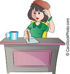 Sekretärin oder Frau, die auf einem Desk sitzt, Illustration