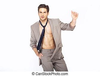 Seltsamer eleganter Mann im Anzug
