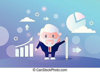 Senior Businessman analysiert Pfeil-Wachstumsfinanzierungsdiagramm infographic Business Man Finanzdaten Analysieren Bericht männlichen Zeichentrickfilm Volllänge horizontale Vektorgrafik.