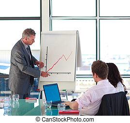 Senior Businessman meldet sich in einer Präsentation zum Verkauf