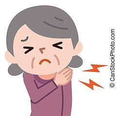 Senior Frau mit Schulterschmerzen