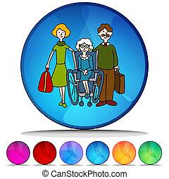 Senior in Pflegeheim-Mosaic-Kristall