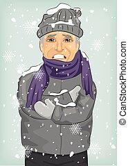 Senior Mann friert im Winter kalt mit Wollhut und Jacke mit Schal.