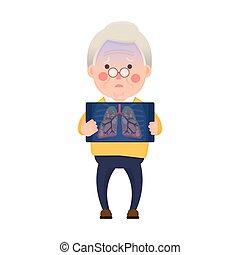 Senior Mann hat Lungenprobleme.