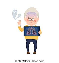 Senior Mann Rauchen, Lungenproblem.