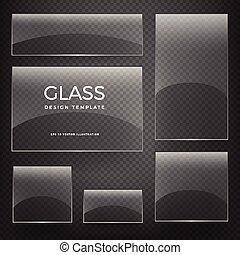 senkrecht, durchsichtig, glas, vektor, banner, horizontal