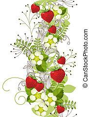 senkrecht, muster, seamless, blumen-, erdbeeren, wild