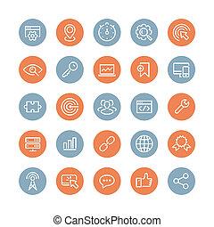 SEO Dienste flache Icons gesetzt