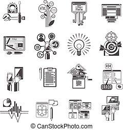 Seo Icons sind schwarz.