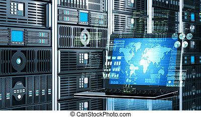 server, internet, laptop
