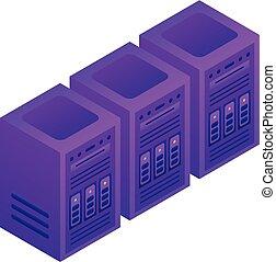 Server-Rack-Icon, isometrischer Stil