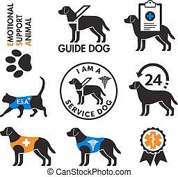 Service Hunde und emotionale Unterstützung Tiere Embleme.