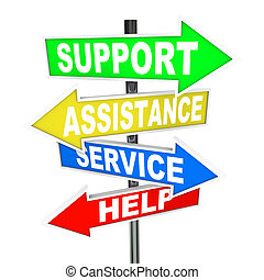 Serviceunterstützung hilft Pfeilschildern bei der Lösung