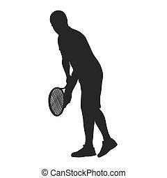 Serviere Tennisspieler.