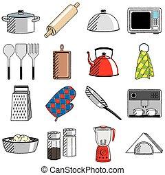 (set), -, cliparts/, küchenutensilien, illustrationen