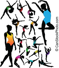 Set Dance Girl Ballett Silhouettes v