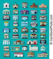 Set der flachen Stadtgebäude und Geschäfte