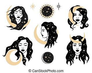 set., frau, abbildung, astrologie, himmlisch, magisches, esoterisch