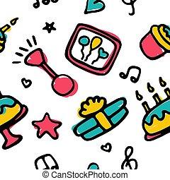 set., ikone, feiertag, hand, pattern., party, geburstag, seamless, gezeichnet, vektor, illustration.