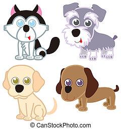 set., karikatur, hund