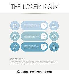 Set of 9 editable kitchenware icons. Fügt Symbole wie Knoblauch, Zitrone, Rüben und mehr ein. Kann für Web-, Mobile-, UI- und infographisches Design verwendet werden.
