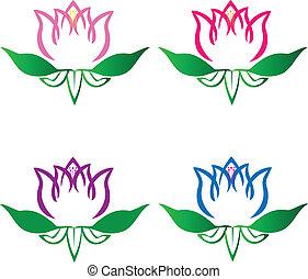 Set of Lotusblumen Logovektor