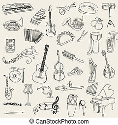 Set of Music Instruments - Hand in Vektor