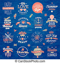 Set of travel and summer holiday type design - Vektor Illustration.