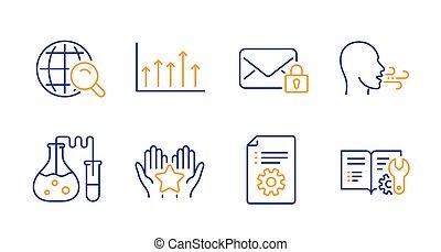 set., post, atmen, vektor, sicher, heiligenbilder, tabelle, übung, wachstum