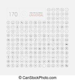 Set von 170 universellen modernen Thin Line Icons für Web und mobile.