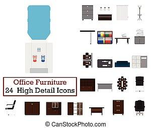 Set von 24 Büromöbel Ikonen