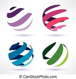 Set von 3d abstrakten Globus Icons.