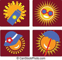 Set von 4 Icons zum Sonnenschutz